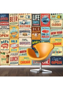 Walplus Vintage Metal Sign Mural Wall Stickers (Wallpaper)