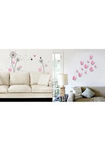 Walplus Combo Small Dandelion with 3D Butterflies Wall Stickers