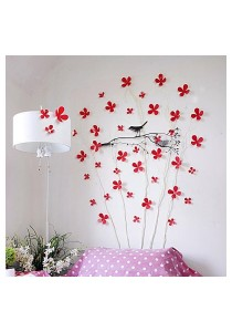 Walplus 12pcs 3D Red Blossom Wall Stickers
