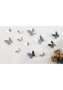 Walplus 12pcs 3D Mirror Butterflies