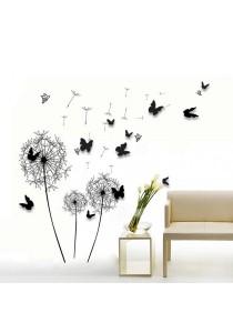 Walplus Combo Black Dandelion with 3D Black Butterflies Wall Stickers