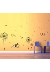 Walplus Combo Black Dandelion with Instant Camera Photo Frame Wall Stickers