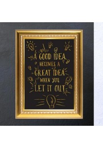 Walplus Gold Frame - Great Idea Quote Wall Stickers