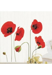 Walplus Red Poppy Flower Wall Stickers