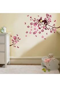 Walplus Pink Monkey Tree Wall Stickers