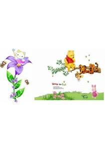 Walplus Combo of Winnie The Pooh & Hello Kitty Wall Stickers