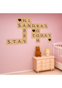 Walplus Scrabble Puzzles 68 Letters Wall Stickers XXL Series (Brown)