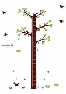 Walplus Squirrel Tree Growth Chart Wall Stickers (XL Series)