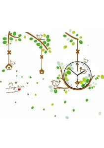 Walplus Green Bird Nest Clock Wall Stickers
