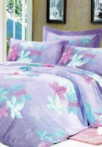 Yanasen Purple Maple Design 5 Pcs Bedding Set (Queen)