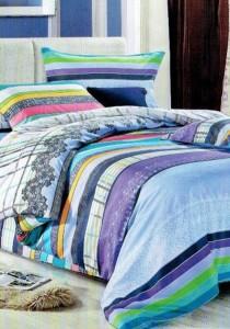 Yanasen Colourful Stripe Design 5 Pcs Bedding Set (Queen)