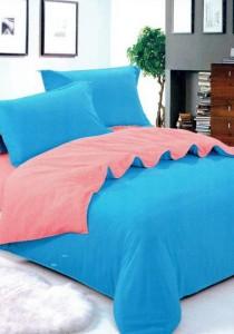 Bliss Blue Pink Plain Mix Design 5 Pcs Bedding Set (Queen)