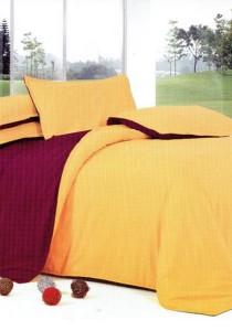 Bliss Yellow Brown Plain Mix Design 5 Pcs Bedding Set (Queen)