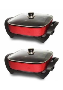 Bliss Electric Multi-Function Cooker and Pan Grill - 2 Pcs (Red)