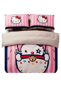 Blisshome Hello Kitty Design 2 Fitted Bedding Set with Quilt Cover (Pink) (Queen)