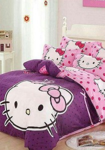 Blisshome Hello Kitty Design 3 Fitted Bedding Set with Quilt Cover (Queen)