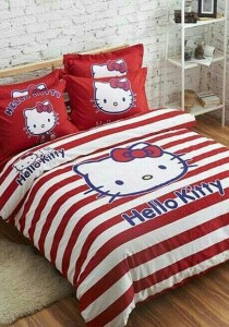 Blisshome Hello Kitty Design 5 Fitted Bedding Set With Quilt Cover (Queen)