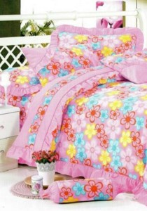 Bliss Home Pinky Flower Design Non-fitted Bedsheet Set