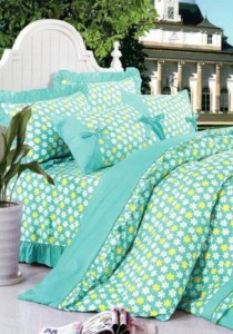 Bliss Home Sunny Green Design Non-fitted Bedsheet Set