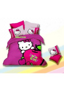 5D Cerise Hello Kitty Fitted Bedding Set With Quilt Cover (Queen)