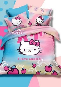 5D Colourful Hello Kitty Fitted Bedding Set With Quilt Cover (Queen)