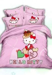 5D Sweet Heart Hello Kitty Fitted Bedding Set With Quilt Cover (Queen)
