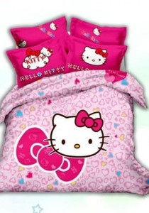 5D Pinky Hello Kitty Bedding Set With Quilt Cover (Queen)