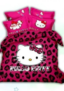 5D Sexy Hello Kitty Fitted Bedding Set With Quilt Cover (Queen)