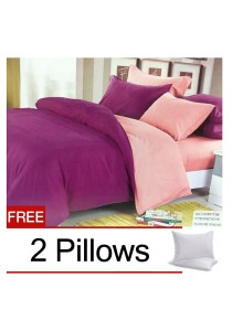 Violet Pink Plain Mixed Colors Fitted Bedding Set With Quilt Cover (Queen)