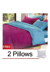 Violet Blue Plain Mixed Colors Fitted Bedding Set With Quilt Cover (Queen)