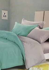 Green Grey Plain Mixed Colors Fitted Bedding Set With Quilt (Queen)
