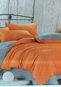 Orange Grey Plain Mixed Colors Fitted Bedding Set With Quilt Cover (Queen)