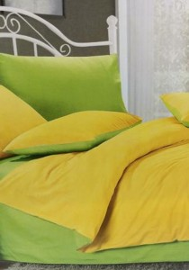 Yellow  Green Plain Mixed Colors Fitted Bedding Set With Quilt Cover (Queen)