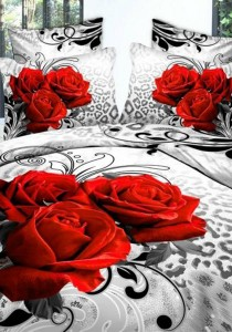 3 Roses Bedding Set With Quilt Cover (Queen)