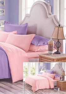 Yanasen Plain Mixed Colors Fitted Bedding Set With Quilt Cover - Light Purple Pink (Queen)