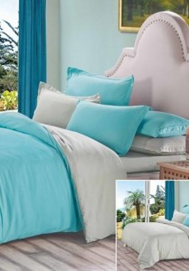 Yanasen Plain Mixed Colors Fitted Bedding Set With Quilt Cover - Light Green Grey (Queen)