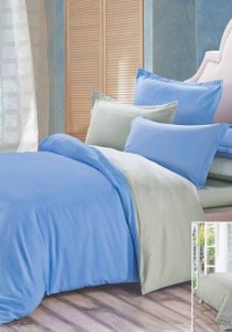 Yanasen Plain Mixed Colors Fitted Bedding Set With Quilt Cover -  Light Blue Grey (Queen)