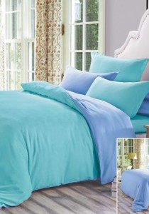 Yanasen Plain Mixed Colors Fitted Bedding Set With Quilt Cover - Light Green Blue (Queen)