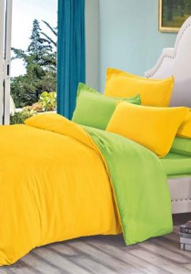 Yanasen Plain Mixed Colors Fitted Bedding Set With Quilt Cover - Yellow Green (Queen)