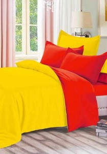 Yanasen Plain Mixed Colors Fitted Bedding Set With Quilt Cover - Yellow Red (Queen)