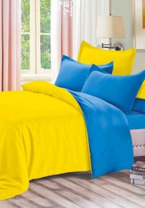 Yanasen Plain Mixed Colors Fitted Bedding Set With Quilt Cover - Yellow Dark Blue (Queen)