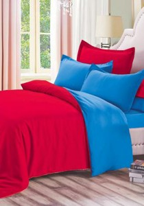 Yanasen Plain Mixed Colors Fitted Bedding Set With Quilt Cover - Red Dark Blue (Queen)