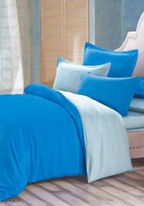 Yanasen Plain Mixed Colors Fitted Bedding Set With Quilt Cover - Dark Blue Light Blue (Queen)
