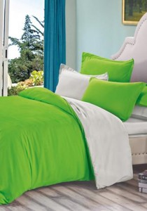 Yanasen Plain Mixed Colors Fitted Bedding Set With Quilt Cover - Green Grey (Queen)