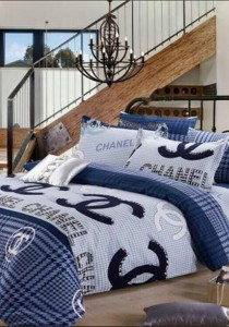 Yanasen Blue Channel Design Fitted Bedding Set With Quilt Cover (Queen)
