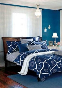 Yanasen Blue Star Design Fitted Bedding Set With Quilt Cover (King)
