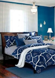 Yanasen Blue Star Design Fitted Bedding Set With Quilt Cover (Queen)