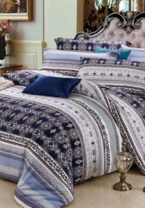 Yanasen Gentle Of Blue Design Fitted Bedding Set With Quilt Cover (Queen)