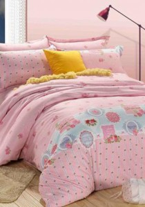Yanasen Pinky Lady Fitted Bedding Set With Quilt Cover (King)