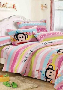 Yanasen Pinky Sea Paul Frank Design Fitted Bedding Set With Quilt Cover (Queen)